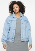 Missguided - Curve oversized boyfriend jacket - blue