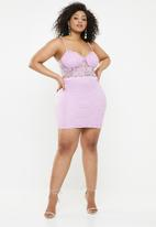 Missguided - Curve cup detail strappy mini dress - purple