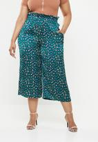 Missguided - Satin animal print paperbag waist trouser - green