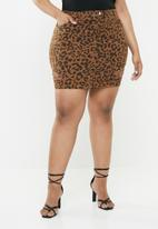 Missguided - Leopard print ripped denim skirt - brown & black
