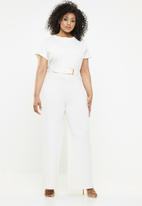 Missguided - Curve high neck wide leg jumpsuit - white
