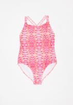 Rebel Republic - Printed full piece swimsuit - pink & peach