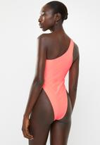 Missguided - One shoulder cut out swimsuit - neon peach