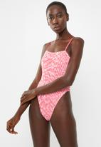 Missguided - Stripe crinkle square neck swimsuit - pink & white