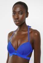 Sissy Boy - Push up padded underwire bikini top with mesh overlay - blue