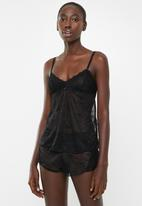 Sissy Boy - Mesh and lace non padded cami top - black
