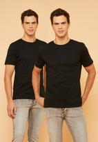 Superbalist - Crew neck short sleeve 2 pack tees - black