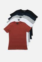 Superbalist - Plain crew neck short sleeve 5 pack tees - multi