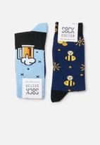 Sock Doctor - 2 Pack beer and sparkles sock - multi