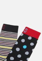 Sock Doctor - 2 Pack stripe and polka dot sock - multi