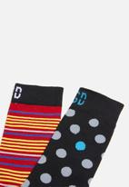 Sock Doctor - 2 Pack polka dot and stripe sock - multi