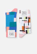 Sock Doctor - 2 Pack abstract print sock - multi