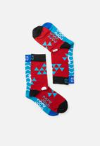 Sock Doctor - 2 Pack shark and triangle socks  - multi