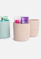Sixth Floor - Cotton rope storage basket set of 2 - dusty pink