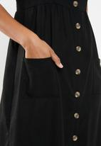 Cotton On - Woven beth button front midi dress - black