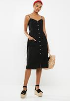 Cotton On - Woven beth button front midi dress - black