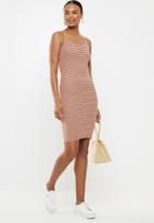 Cotton On - Kaylee bodycon dress - rust & white