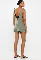 Cotton On - Tie up beach playsuit  - green