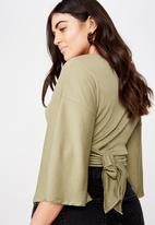 Cotton On - Curve jude kimono tie up front - green