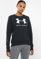 Under Armour - Rival fleece sportstyle graphic crew - black & white