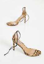 Madison® - Felicity leopard print ankle strap stiletto - brown