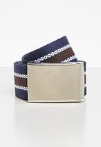Superbalist - Canvas stripped belt - blue & white