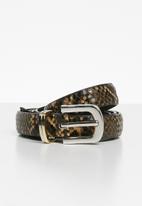 MANGO - Skinny snake-effect belt - beige & black