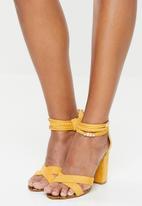 Miss Black - Ankle strap block heels - yellow