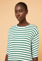 Superbalist - Relaxed tee dress - green & white
