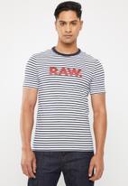 G-Star RAW - Resistor short sleeve tee - navy & white