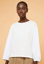 Superbalist - Fabric mix tee - white