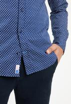 Tommy Hilfiger - Geometric print slim fit shirt - navy & white