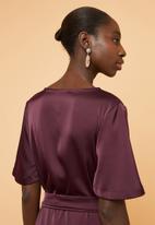 Superbalist - Wrap over kimono dress - burgundy