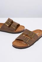 Cotton On - Faux leather double buckle slide - brown