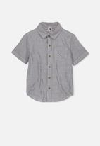 Cotton On - Resort short sleeve stripe shirt - black & white