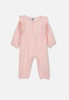 Cotton On - Rosie long sleeve ruffle romper - pink