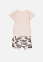 Cotton On - Harpa short sleeve pj set - pink & black