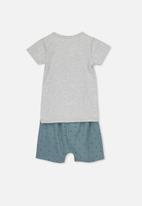 Cotton On - Harpa short sleeve pj set - grey & blue