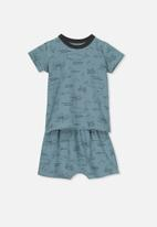 Cotton On - Hudson short sleeve pj set - blue