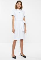 POLO - Kerry tie belt golfer dress - white