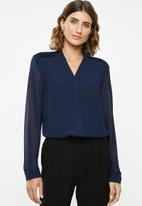 POLO - Lilly long sleeve pin tuck blouse - navy