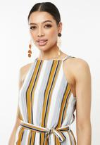 Missguided - 90's neck stripe playsuit - multi