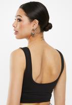 Missguided - Scoop neck cotton bralet - black