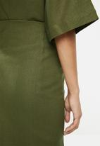 edit - Linen blend wrap skirt - green
