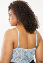 Missguided - Curve pipe detail lace bodysuit - blue