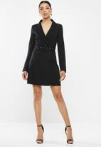 Missguided - Tortoise shell belt blazer dress - black