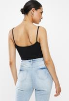 Missguided - Black strappy cami bodysuit - black