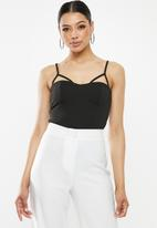 Missguided - Harness cup detail strappy bodysuit - black