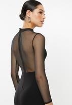 Missguided - Mesh insert maxi dress - black