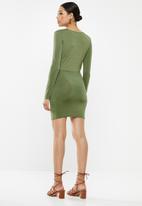 Missguided - Plunge gathered mini dress - khaki
